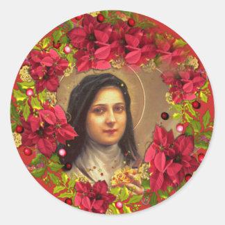 Adesivo Redondo St. Therese a poinsétia pequena da flor