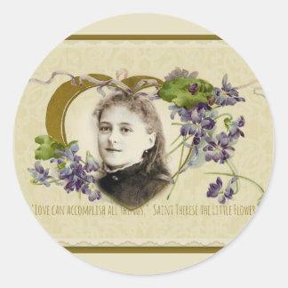 Adesivo Redondo St. Therese as violetas pequenas da flor