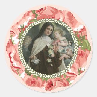 Adesivo Redondo St. Therese da criança Jesus pouca flor