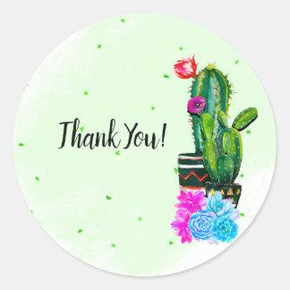 Adesivo Redondo Succulents brilhantes Cinco de Mayo da festa das