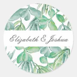 Adesivo Redondo Succulents sensacionais que Wedding