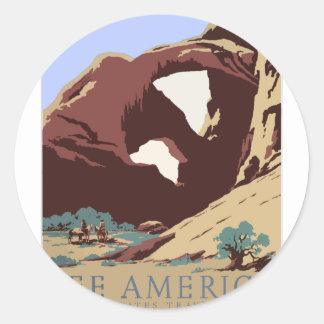 Adesivo Redondo Sudoeste América EUA do poster das viagens vintage