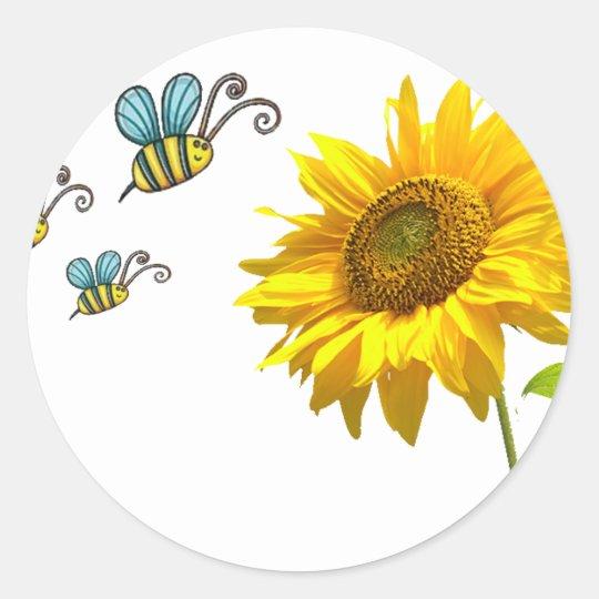 Adesivo Redondo sun flower and bees