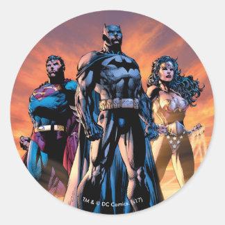 Adesivo Redondo Superman, Batman, & trindade da mulher maravilha