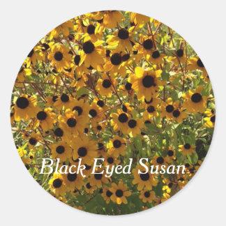 Adesivo Redondo Susan de olhos pretos floresce a foto suas
