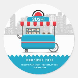 Adesivo Redondo Sushi da comida da rua