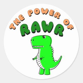 Adesivo Redondo T-Rex o poder de RAWR