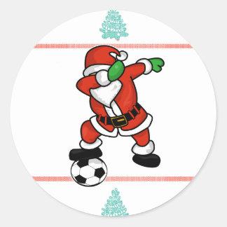 Adesivo Redondo T-shirt 2018 feio do Natal da solha do futebol de