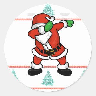 Adesivo Redondo T-shirt feio do Natal da dança da solha de Papai