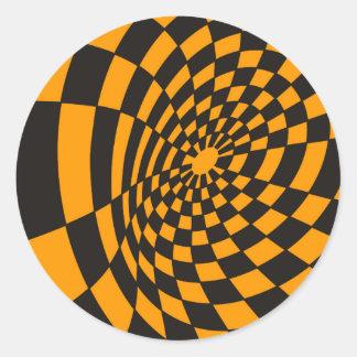 Adesivo Redondo Tabuleiro de damas amarelo e preto entortado