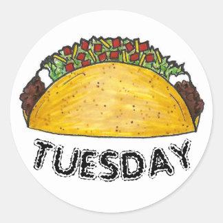 Adesivo Redondo Tacos Foodie da comida de Tex Mex do mexicano de