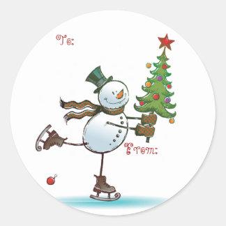 Adesivo Redondo Tag bonitos do presente do Natal do boneco de neve