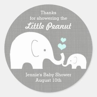 Adesivo Redondo Tag do favor do elefante, pouco amendoim