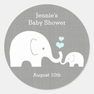 Adesivo Redondo Tag do favor do elefante, pouco coração do azul do