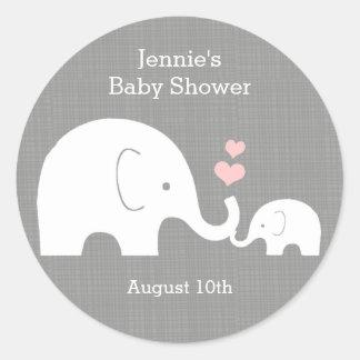 Adesivo Redondo Tag do favor do elefante, pouco coração do rosa do