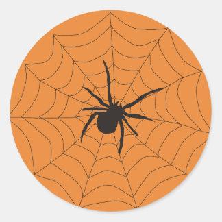 Adesivo Redondo Tag do presente da aranha do Dia das Bruxas