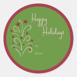 Adesivo Redondo Tag do presente da árvore do feriado