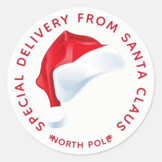 Adesivo Redondo Tag do presente do Natal da entrega especial do