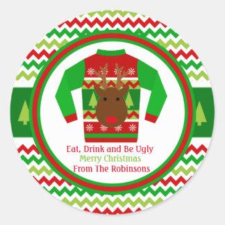 Adesivo Redondo Tag feio do presente de época natalícia do Natal