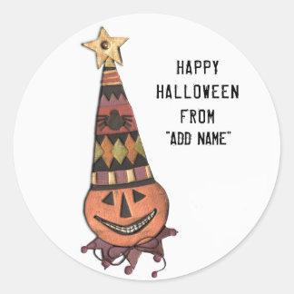 Adesivo Redondo Tag feliz do presente do Dia das Bruxas