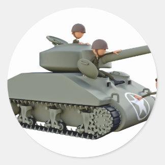 Adesivo Redondo Tanque e soldados dos desenhos animados na