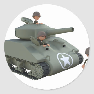 Adesivo Redondo Tanque e soldados dos desenhos animados que vão