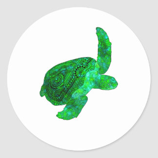 Adesivo Redondo Tartaruga de mar verde tribal