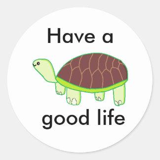 Adesivo Redondo Tartaruga feliz, pequena