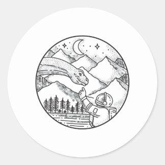 Adesivo Redondo Tatuagem do círculo da montanha do astronauta do