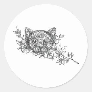 Adesivo Redondo Tatuagem principal da flor do jasmim do gato