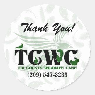Adesivo Redondo TCWC - Obrigado do verde do logotipo você