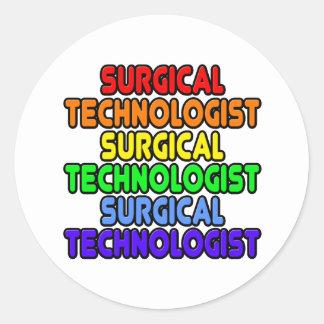 Adesivo Redondo Tecnólogo cirúrgico do arco-íris