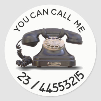 Adesivo Redondo Telefone velho - adicione o número