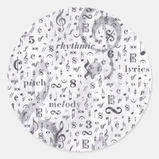 Adesivo Redondo Tema da música do teste padrão da nota da música