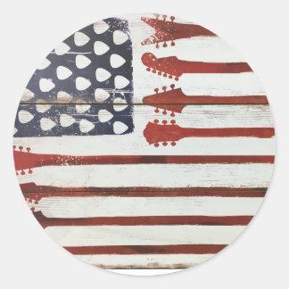 Adesivo Redondo Tema patriótico da música da guitarra da bandeira