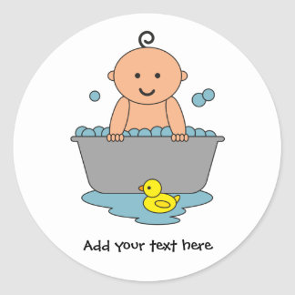 Adesivo Redondo Tempo do banho do bebé
