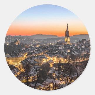 Adesivo Redondo tempo do Natal da opinião da cidade de Berna