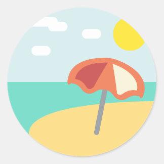 Adesivo Redondo Tempo Emoji da praia