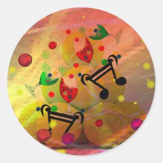 Adesivo Redondo Tênis com notas da música no Natal