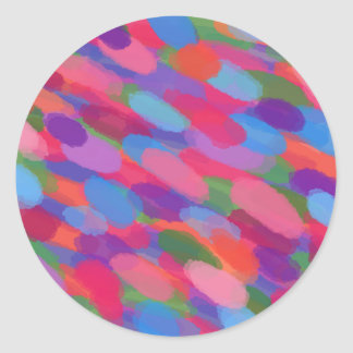 Adesivo Redondo Teste padrão abstrato colorido das gotas do