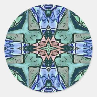 Adesivo Redondo Teste padrão artístico do pêssego moderno do Lilac