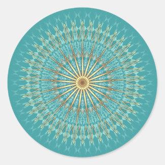 Adesivo Redondo Teste padrão da mandala do ouro de turquesa