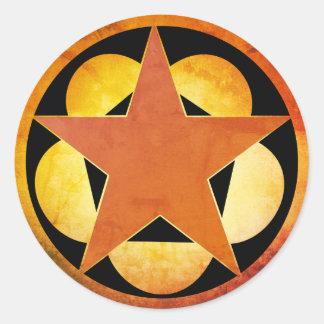 Adesivo Redondo Teste padrão de estrela de bronze de