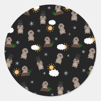Adesivo Redondo Teste padrão do dia de Groundhog