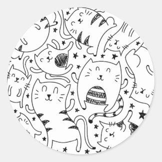 Adesivo Redondo Teste padrão esboçado engraçado dos doodles dos