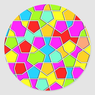 Adesivo Redondo teste padrão geométrico islâmico
