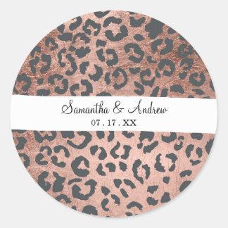 Adesivo Redondo Teste padrão moderno do leopardo do ouro do rosa