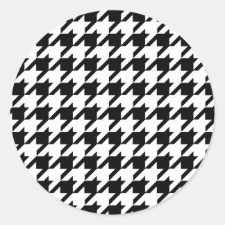 Adesivo Redondo Teste padrão preto e branco de Houndstooth