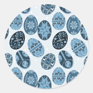 Adesivo Redondo Teste padrão ucraniano do azul dos ovos da páscoa