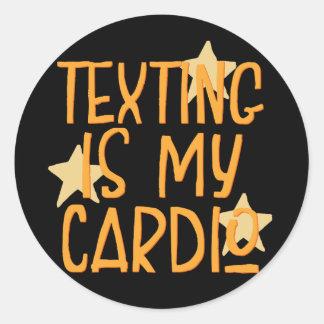 Adesivo Redondo Texting é meu cardio-
